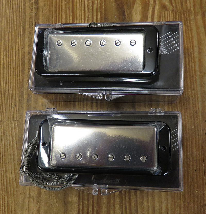 LOLLAR PICKUPS Mini Humbucker Nickel Set Black Ring mount Single con