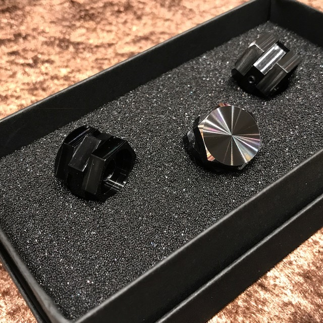 HATA hexagonal triple knob / black anodized /6.4Φ/ no dot / set of 3 [Limited Edition]