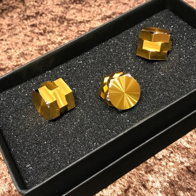 HATA hexagonal triple knob / Gold Anodized /6.4Φ/ no dot / set of 3 [Limited Edition]
