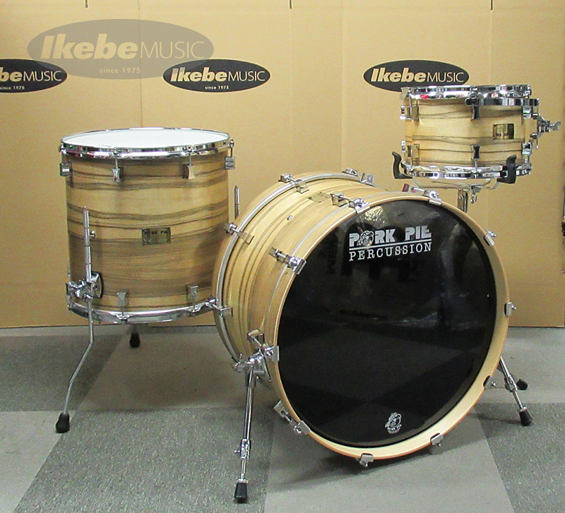 PORK PIE 9 Ply Oak Shell 3pc Drum Set w/African Marble + Natural Satin Finish
