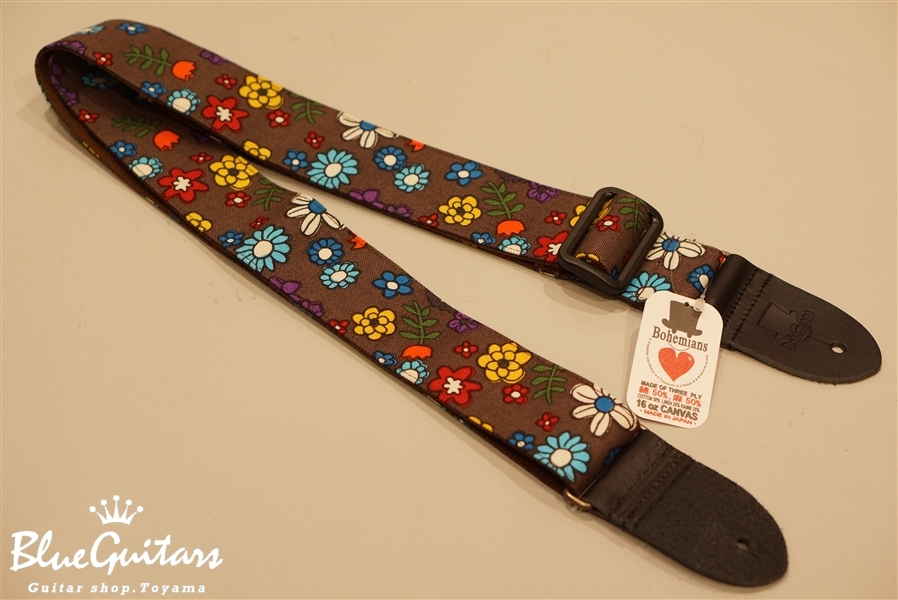 Bohemians BG-31 GUITAR STRAP CANDY FLOWER - BROWN