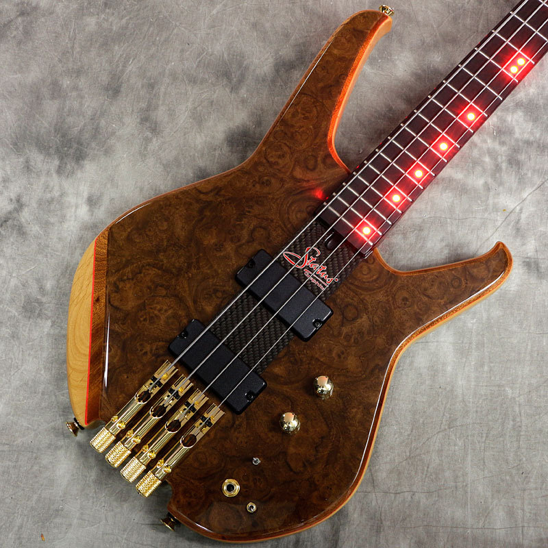 "Status Graphite S2-Classic Through-Neck 4st Headless ""Burl Walnut Top"" with Red LED【新宿店】"