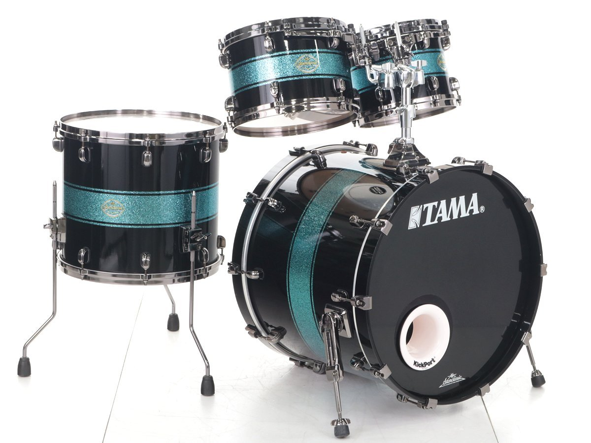 Tama Starclassic Maple Blue Sparkle Racing Stripe 4-point drum set [WEBSHOP]