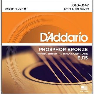 D'Addario PHOSPHOR BRONZE Acoustic Strings EJ15 Extra Light 10-47 【渋谷店】
