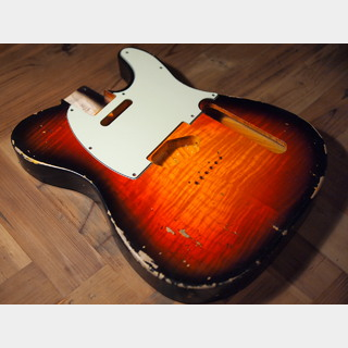 MJT Telecaster Body - Semi-Hollow - Flame Maple Top/Swamp Ash - 3-Tone Sunburst - Medium Relic