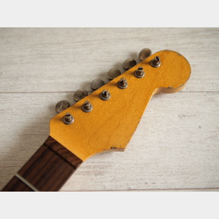 MJT Allparts Stratocaster Neck - Maple/Indian Rosewood - 22F/Slab - Vintage Amber - Medium Relic