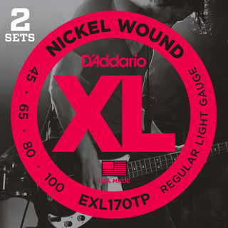 D'Addario 特価!!EXL170TP Twin Pack (2set Pack) Regular Light 45-100 Long Scale ベース弦【心斎橋店】