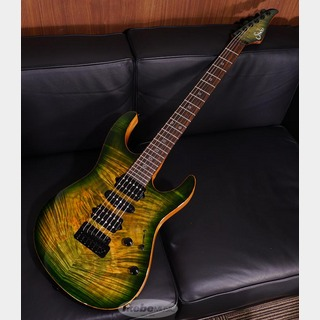 Suhr(正規輸入品) Modern Waterfall Burl Maple Top/African Okoume Back, Faded Trans Green Burst/MH SN.JS5W0Z