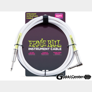 ERNIE BALL10' STRAIGHT/ANGLE INSTRUMENT CABLE - WHITE #6049