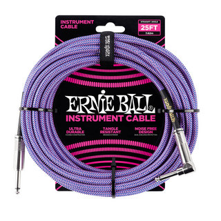 ERNIE BALL ERNIE BALL #6069 25ft Braided Cables Purple ギターケーブル