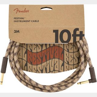 Fender10' Angled Festival Instrument Cable Pure Hemp Brown Stripe 約3M シールド