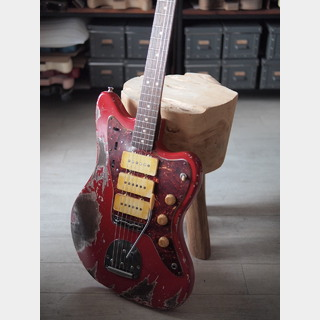 "MJT + Warmoth - ""Jazzmastriple"" - Quarter Sawn Black Korina - Dakota Red Relic"