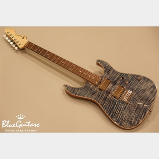 T's Guitars DST-DX24 w/Buzz Feiten Tuning System - Trans Blue Denim 5A Flame Maple Top