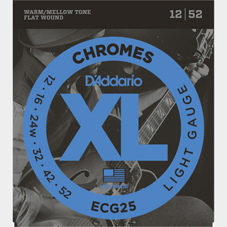 D'Addario XL Chromes Flat Wound Light ECG25
