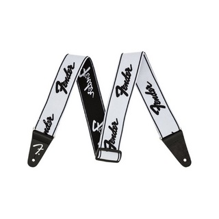 Fender WeighLess Running Logo Strap White/Black ギターストラップ