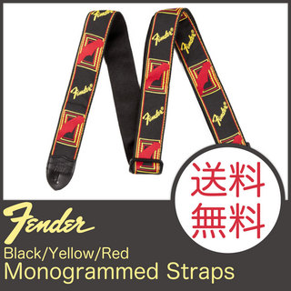 "Fender 2"" Monogrammed Strap Black/Yellow/Red ギターストラップ"