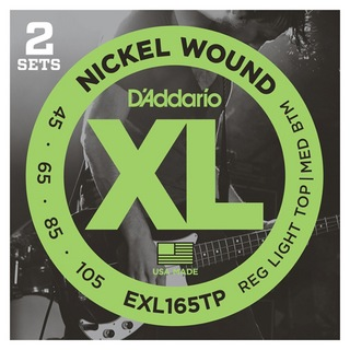 D'Addario EXL165TP Regular Light Top-Medium Bottom エレキベース弦 2セットパック×2セット