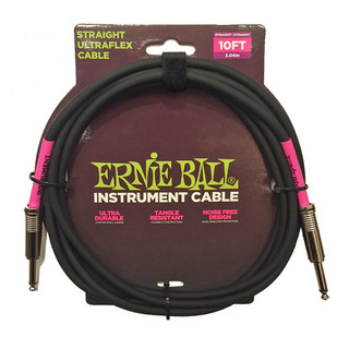 ERNIE BALL INSTRUMENT CABLE BLACK #6048 10feet (3.04m/S-S)【数量限定超特価】