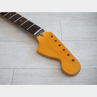 "ALLPARTS Stratocaster Neck ""Large Head"" - Maple/Indian Rosewood - 21F/Slab - Vintage Yellow - Relic"