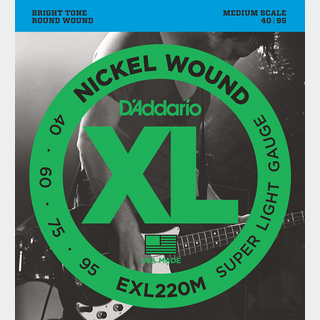 D'Addario EXL220M Super Light 40-95 Medium Scale ベース弦【心斎橋店】
