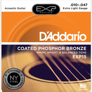 D'Addario EXP Coated Phosphor Bronze EXP Coated PB Extra Light EXP15