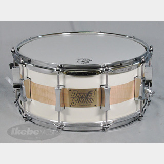 "PORK PIE""USA Custom"" Pork Pie Limited Snare Drum[Walnut 8ply 14""x6.5""/Curly Maple with Solid White Finish]"