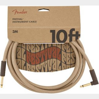 Fender10' Angled Festival Instrument Cable Pure Hemp Natural 約3M シールド