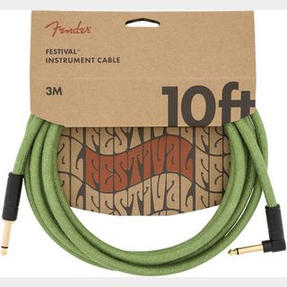 Fender10' Angled Festival Instrument Cable Pure Hemp Green 約3M シールド
