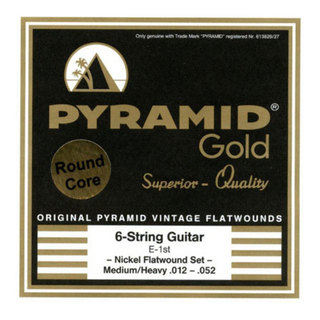 PYRAMID STRINGS EG-Gold 012-052 chrome nickel flatwounds on round core フラットワウンド エレキギター弦×6セット