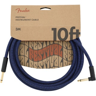 Fender 10' Angled Festival Instrument Cable Pure Hemp Blue Dream SL ギターケーブル