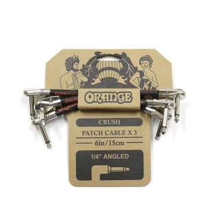 "ORANGE CRUSH Patch Cable 3-Pack 6inch 15cm 1/4"" Angled CA038 パッチケーブル 3本セット"