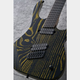 Strictly 7 Guitars Cobra K7 HT/B Fannd Fret -Black with Yellow Grain Fill-