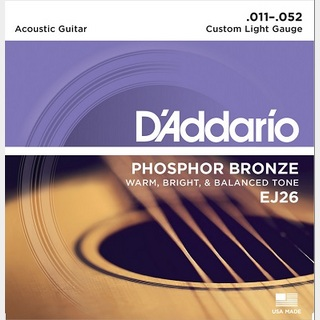 D'Addario PHOSPHOR BRONZE Acoustic Strings EJ26 Custom Light 11-52 【渋谷店】