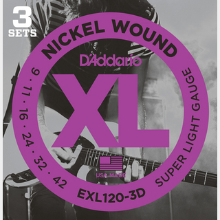 D'Addario XL Nickel Multi-Packs Super Light EXL120-3D
