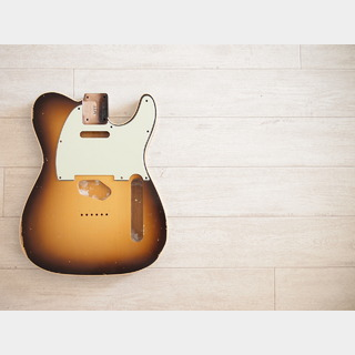 MJT Double Bound Telecaster Body - Chocolate Sunburst - Light Relic
