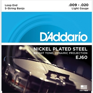 D'Addario Banjo Nickel EJ60 (J60) Light 9-20 5-Strings ダダリオ バンジョー弦【池袋店】