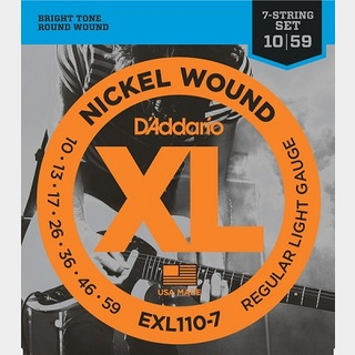 D'Addario EXL110-7 XL NICKEL 7-string Electric Guitar Strings Regular Light 10-59 7弦ギター用 【渋谷店】