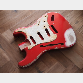 "MJTStratocaster ""F-Solid"" Body - Alder - Candy Apple Red - Heavy Relic"