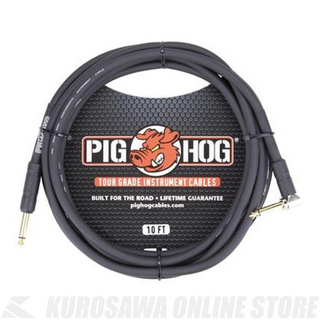 "Pig Hog 10'- 8mm Inst. Cable1/4""-1/4"" Rt Angle Conne《シールド/ケーブル》"