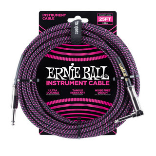 ERNIE BALL ERNIE BALL #6068 25ft Braided Cables Black / Purple ギターケーブル
