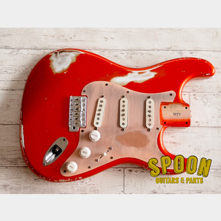 MJT Custom Aged Alder Stratocaster Body Candy Apple Red w/Full Assembly