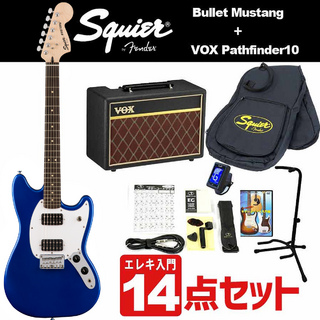 Squier by Fender Bullet Mustang HH Black Indian Laurel 【VOXアンプ&小物セット】初心者入門セット【WEBSHOP】