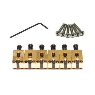"Graph Tech PG-8000-0G STRING SAVER CLASSICS FOR STRAT & TELE 2 1/16"" SPACING GOLD ブリッジサドル"