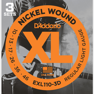D'Addario XL Nickel Multi-Packs Regular Light EXL110-3D