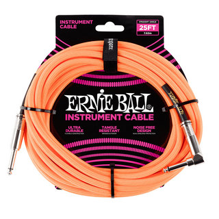 ERNIE BALL ERNIE BALL #6067 25ft Braided Cables Neon Orange ギターケーブル