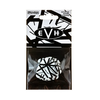 Jim Dunlop EVHP03 EVH MAX-GRIP PICKS WHITE WITH BLACK STRIPES ギターピック 6枚入り