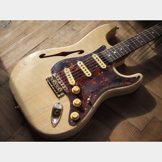"MJT + Warmoth - Custom Startocaster ""F-Blond"" - Quarter Sawn Black Korina/1P Swamp Ash - Relic"