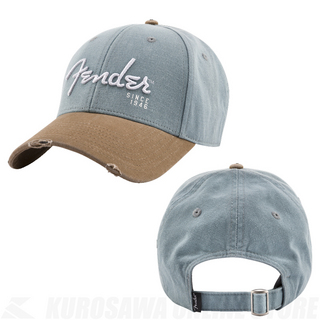Fender Spaghetti Logo Washed Snapback Grey & Brown(ご予約受付中・納期要確認)