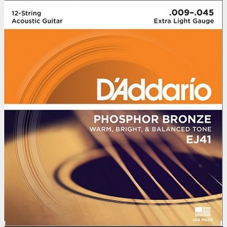 D'Addario PHOSPHOR BRONZE 12-string Acoustic Strings EJ41 Extra Light 12弦ギター用【渋谷店】