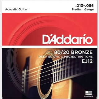 D'Addario 80/20 BRONZE Acoustic Strings EJ12 Medium 13-56 【渋谷店】